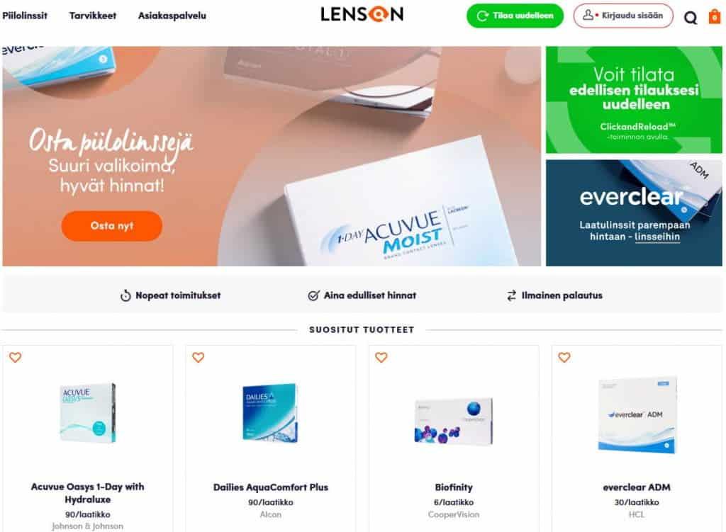 Kuvakaappaus Lenson.com-verkkokaupasta 10.3.2021.