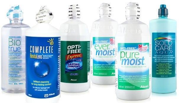 Monikäyttöisiä piilolinssinesteitä: BioTrue, Complete RevitaLens, OptiFree Express, Opti-Free Ever Moist, Solo Care Aqua