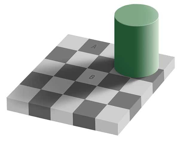 Shakkilauta-illuusio. Kuva: Edward H. Adelson, Gustavb, Wikimedia Commons