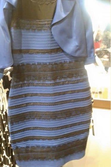 Sini-musta vai valko-kultainen mekko?
